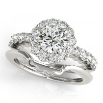 Floral Halo Round Diamond Engagement Ring 18k White Gold (1.61ct)