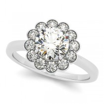 Diamond Floral Halo Engagement Ring 18k White Gold (1.33ct)