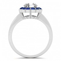 Diamond & Blue Sapphire Halo Engagement Ring 14k White Gold (1.33ct)