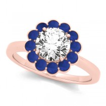 Diamond & Blue Sapphire Halo Engagement Ring 18k Rose Gold (1.33ct)