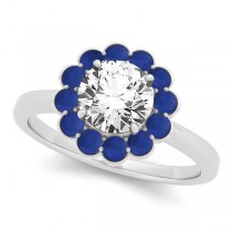 Diamond & Blue Sapphire Halo Engagement Ring 18k White Gold (1.33ct)