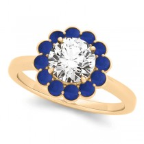 Diamond & Blue Sapphire Halo Engagement Ring 18k Yellow Gold (1.33ct)