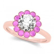 Diamond & Pink Sapphire Halo Engagement Ring 18k Rose Gold (1.33ct)