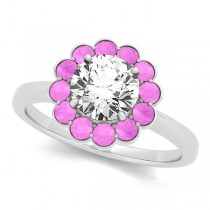 Diamond & Pink Sapphire Halo Engagement Ring 18k White Gold (1.33ct)