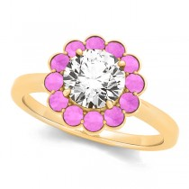 Diamond & Pink Sapphire Halo Engagement Ring 18k Yellow Gold (1.33ct)