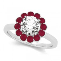 Diamond & Ruby Halo Engagement Ring 14k White Gold (1.33ct)