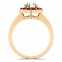 Diamond & Ruby Halo Engagement Ring 14k Yellow Gold (1.33ct)