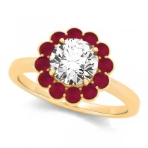 Diamond & Ruby Halo Engagement Ring 18k Yellow Gold (1.33ct)