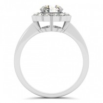 Diamond Floral Halo Engagement Ring Bridal Set 14k White Gold (1.33ct)