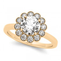 Diamond Floral Halo Engagement Ring Bridal Set 14k Yellow Gold (1.33ct)