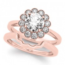 Diamond Floral Halo Engagement Ring Bridal Set 18k Rose Gold (1.33ct)