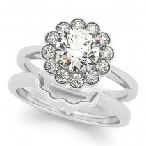 Diamond Floral Halo Engagement Ring Bridal Set 18k White Gold (1.33ct)