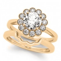 Diamond Floral Halo Engagement Ring Bridal Set 18k Yellow Gold (1.33ct)