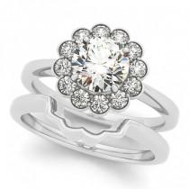 Diamond Floral Halo Engagement Ring Bridal Set Palladium (1.33ct)