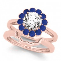 Diamond & Blue Sapphire Halo Bridal Set 14k Rose Gold (1.33ct)