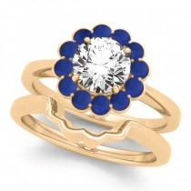Diamond & Blue Sapphire Halo Bridal Set 14k Yellow Gold (1.33ct)