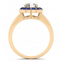 Diamond & Blue Sapphire Halo Bridal Set 14k Yellow Gold (1.33ct)