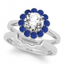Diamond & Blue Sapphire Halo Bridal Set Palladium (1.33ct)