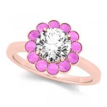 Diamond & Pink Sapphire Halo Bridal Set 14k Rose Gold (1.33ct)