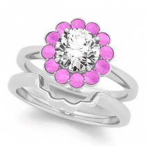Diamond & Pink Sapphire Halo Bridal Set 14k White Gold (1.33ct)