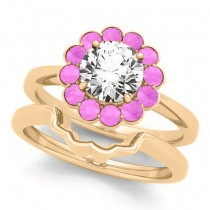 Diamond & Pink Sapphire Halo Bridal Set 18k Yellow Gold (1.33ct)