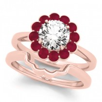 Diamond & Ruby Halo Bridal Set 14k Rose Gold (1.33ct)