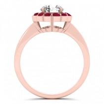Diamond & Ruby Halo Bridal Set 14k Rose Gold (1.33ct)