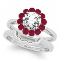 Diamond & Ruby Halo Bridal Set 14k White Gold (1.33ct)