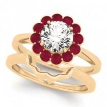Diamond & Ruby Halo Bridal Set 14k Yellow Gold (1.33ct)