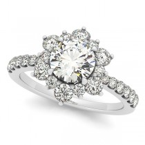 Diamond Semi Eternity Flower Engagement Ring 14k White Gold 1.75ct