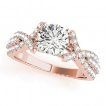 Twisted Engagement Ring with Diamond Accents 14k Rose Gold (0.50ct)