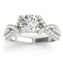Twisted Engagement Ring with Diamond Accents 14k White Gold (0.50ct)