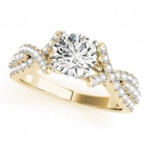 Twisted Engagement Ring with Diamond Accents 14k Yellow Gold (0.50ct)