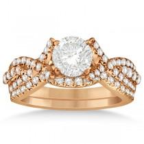 Diamond Engagement Ring & Wedding Band Bridal Set 14k Rose Gold 0.70ct