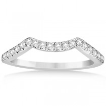 Semi Eternity Contour Diamond Wedding Band in 14k White Gold 0.20ct