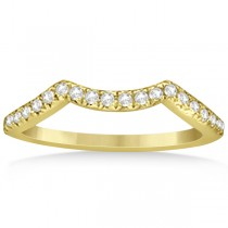 Semi Eternity Contour Diamond Wedding Band in 14k Yellow Gold 0.20ct