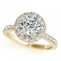 French Pave Halo Diamond Engagement Ring Setting 14k Yellow Gold 1.00ct