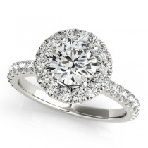 French Pave Halo Diamond Engagement Ring Setting 18k White Gold 1.00ct