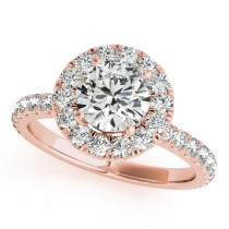 French Pave Halo Diamond Engagement Ring Setting 18k Rose Gold 1.50ct