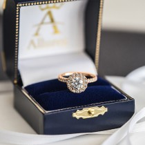French Pave Halo Diamond Engagement Ring Setting 14k Rose Gold 0.75ct