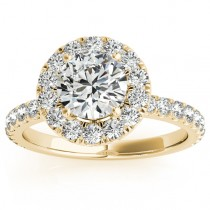 French Pave Halo Diamond Engagement Ring Setting 14k Yellow Gold 0.75ct