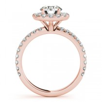 French Pave Halo Diamond Engagement Ring Setting 18k Rose Gold 0.75ct