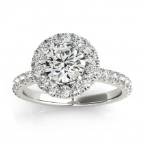 French Pave Halo Diamond Engagement Ring Setting 18k White Gold 0.75ct