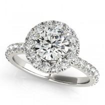 French Pave Halo Diamond Engagement Ring Setting Platinum 2.00ct