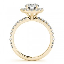 French Pave Halo Diamond Engagement Ring Setting 18k Yellow Gold 2.50ct
