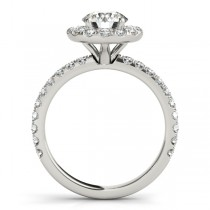 French Pave Halo Diamond Engagement Ring Setting Platinum 0.75ct