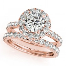 French Pave Halo Diamond Bridal Ring Set 18k Rose Gold (1.45ct)