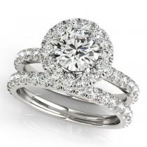 French Pave Halo Diamond Bridal Ring Set 18k White Gold (1.45ct)