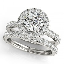 French Pave Halo Diamond Bridal Ring Set Platinum (1.45ct)