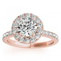 French Pave Halo Diamond Bridal Ring Set 14k Rose Gold (1.20ct)